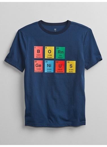 Gap Kısa Kollu Grafik T-Shirt Mavi